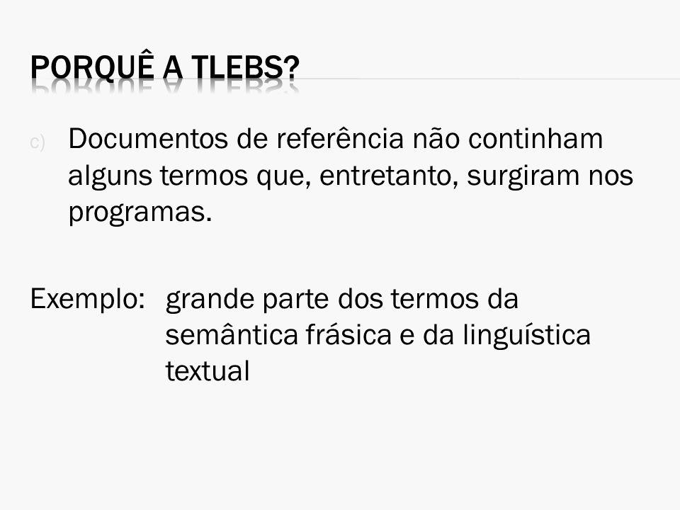 Porquê a TLEBS Documentos de referência não continham alguns termos que, entretanto, surgiram nos programas.