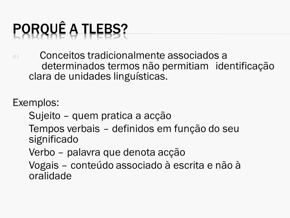 Porquê a TLEBS Conceitos tradicionalmente associados a determinados termos não permitiam identificação clara de unidades linguísticas.