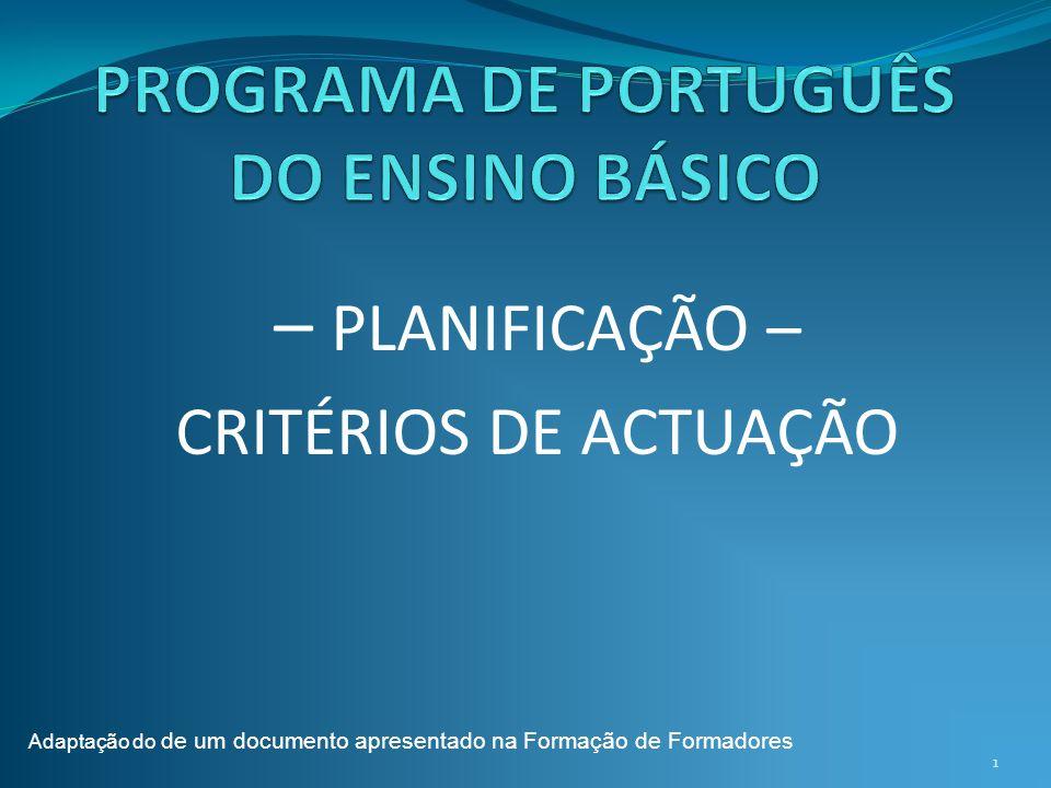 PROGRAMA DE PORTUGUÊS DO ENSINO BÁSICO