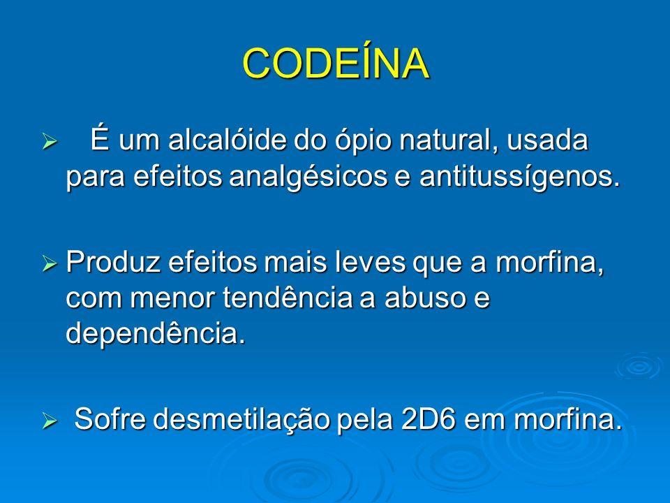 CODEÍNA É um alcalóide do ópio natural, usada para efeitos analgésicos e antitussígenos.