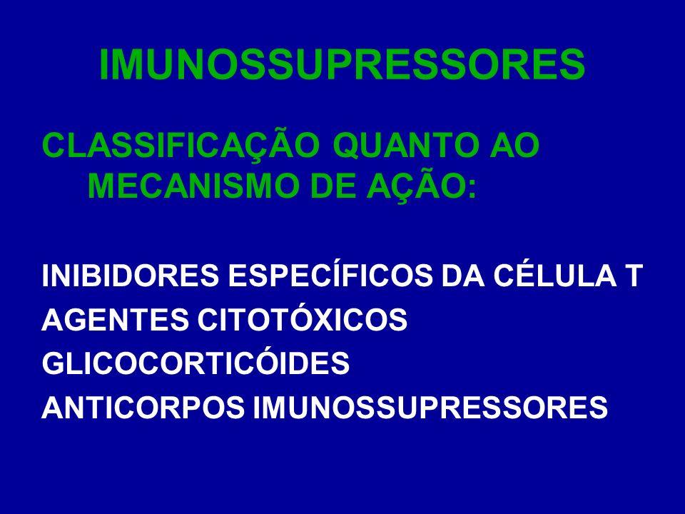 IMUNOSSUPRESSORES CLASSIFICAÇÃO QUANTO AO MECANISMO DE AÇÃO: