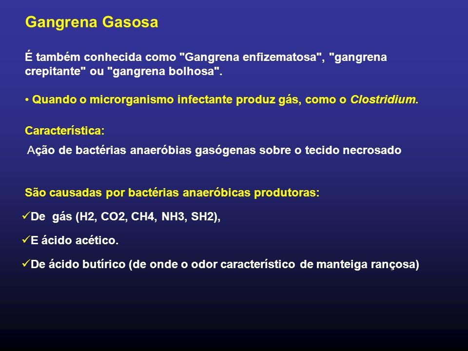 Gangrena Gasosa É também conhecida como Gangrena enfizematosa , gangrena crepitante ou gangrena bolhosa .