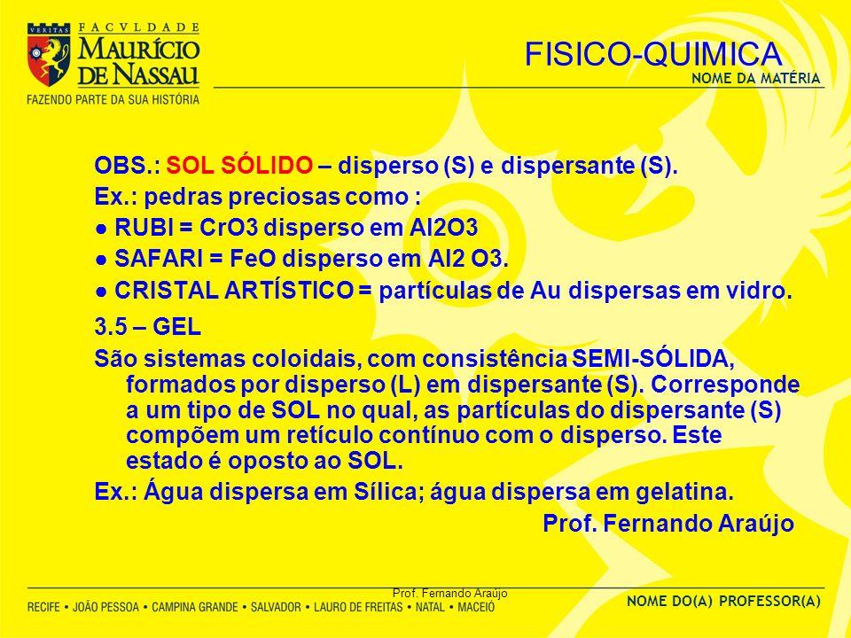 FISICO-QUIMICA OBS.: SOL SÓLIDO – disperso (S) e dispersante (S).