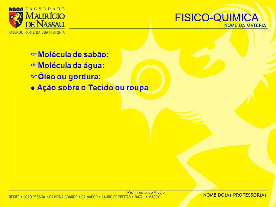 FISICO-QUIMICA Molécula de sabão: Molécula da água: