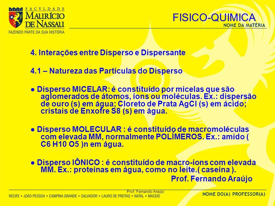 FISICO-QUIMICA 4. Interações entre Disperso e Dispersante