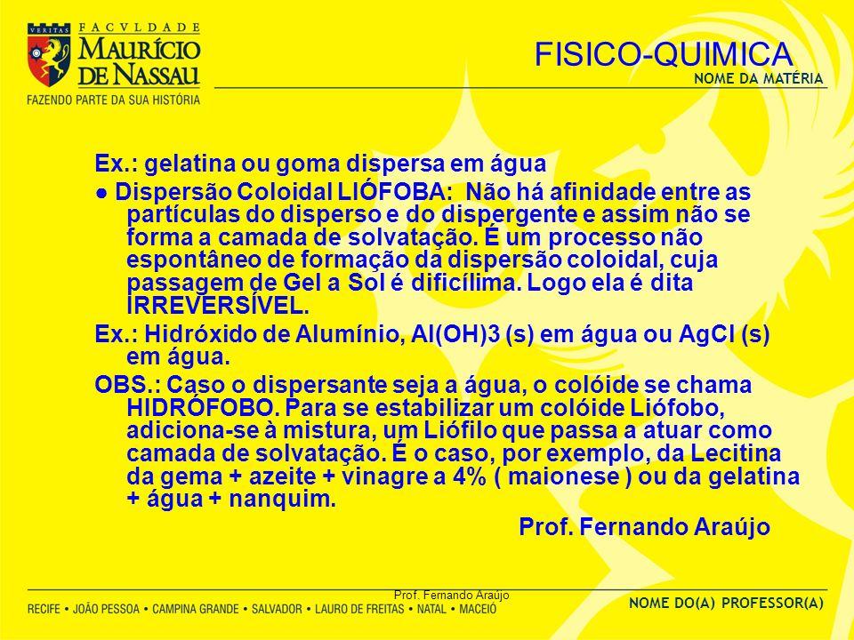 FISICO-QUIMICA Ex.: gelatina ou goma dispersa em água
