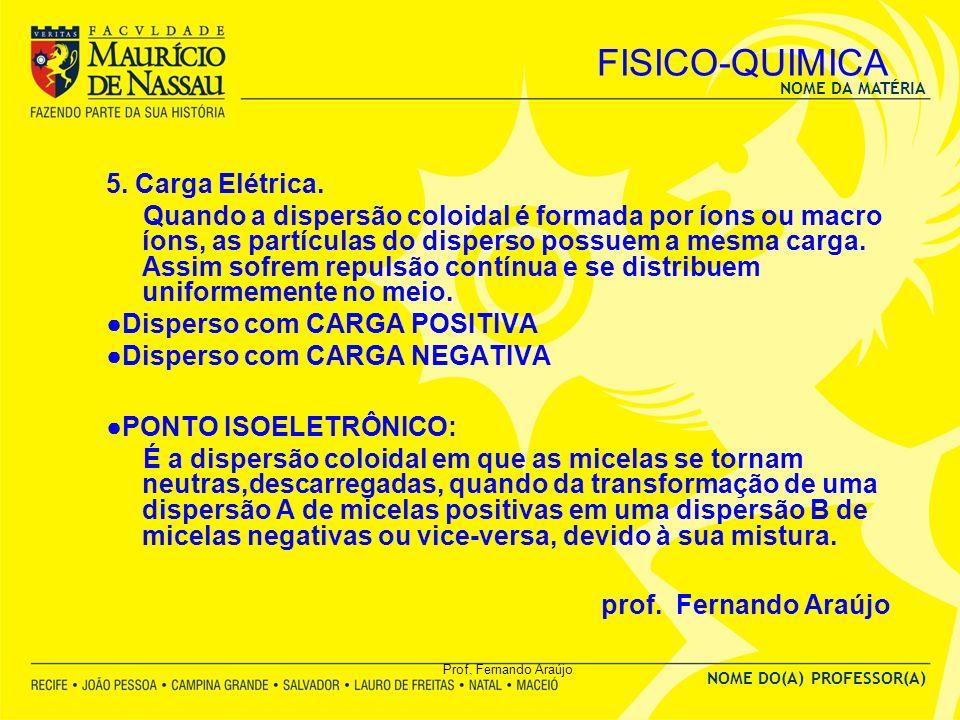 FISICO-QUIMICA prof. Fernando Araújo 5. Carga Elétrica.