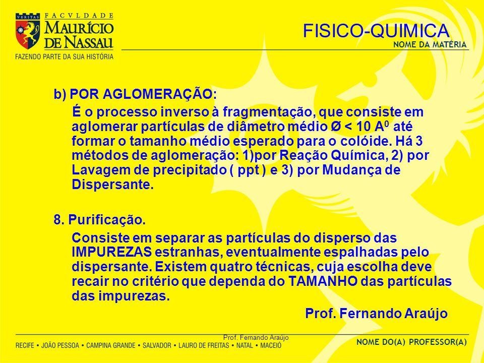 FISICO-QUIMICA b) POR AGLOMERAÇÃO: