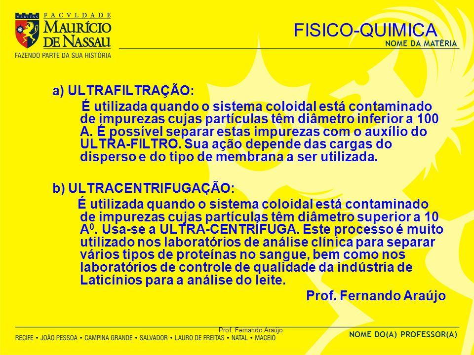 FISICO-QUIMICA a) ULTRAFILTRAÇÃO: