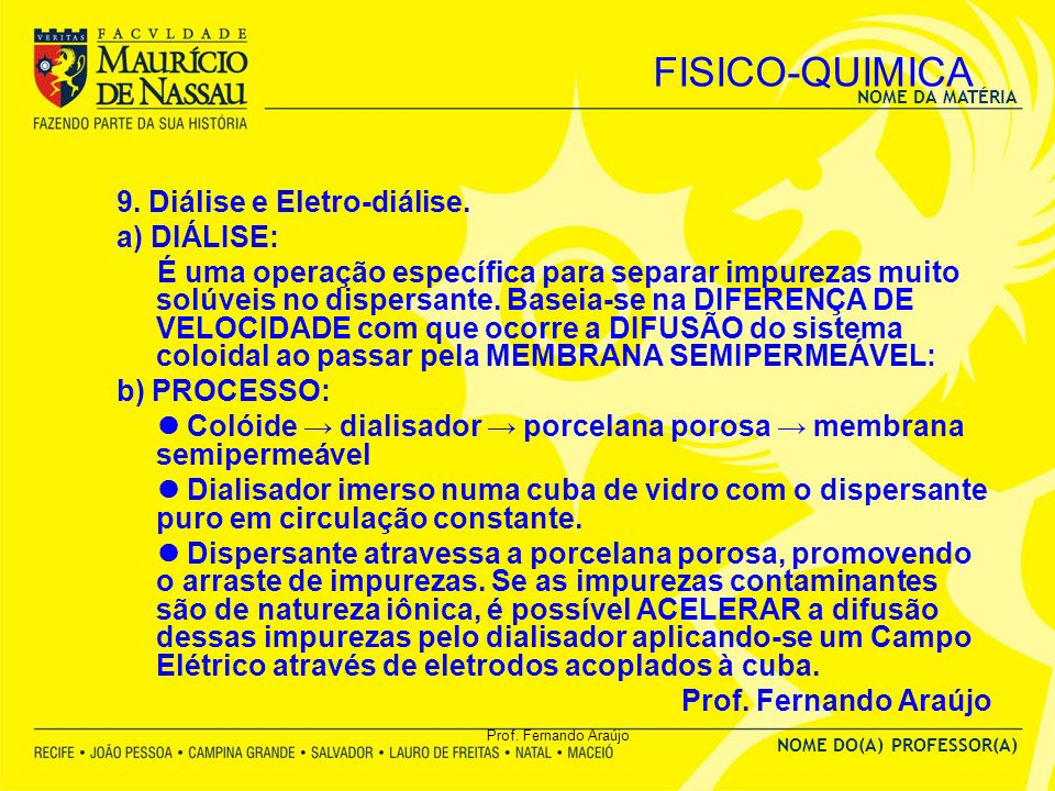 FISICO-QUIMICA 9. Diálise e Eletro-diálise. a) DIÁLISE:
