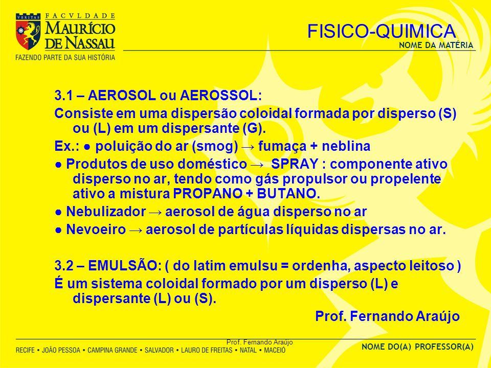 FISICO-QUIMICA 3.1 – AEROSOL ou AEROSSOL:
