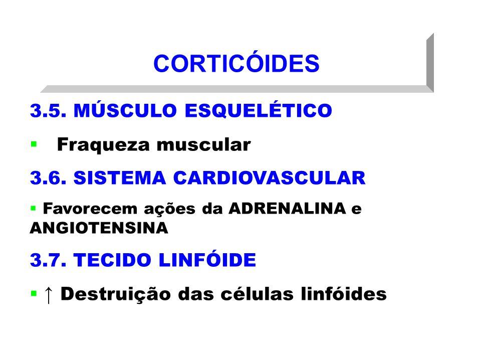CORTICÓIDES 3.5. MÚSCULO ESQUELÉTICO Fraqueza muscular