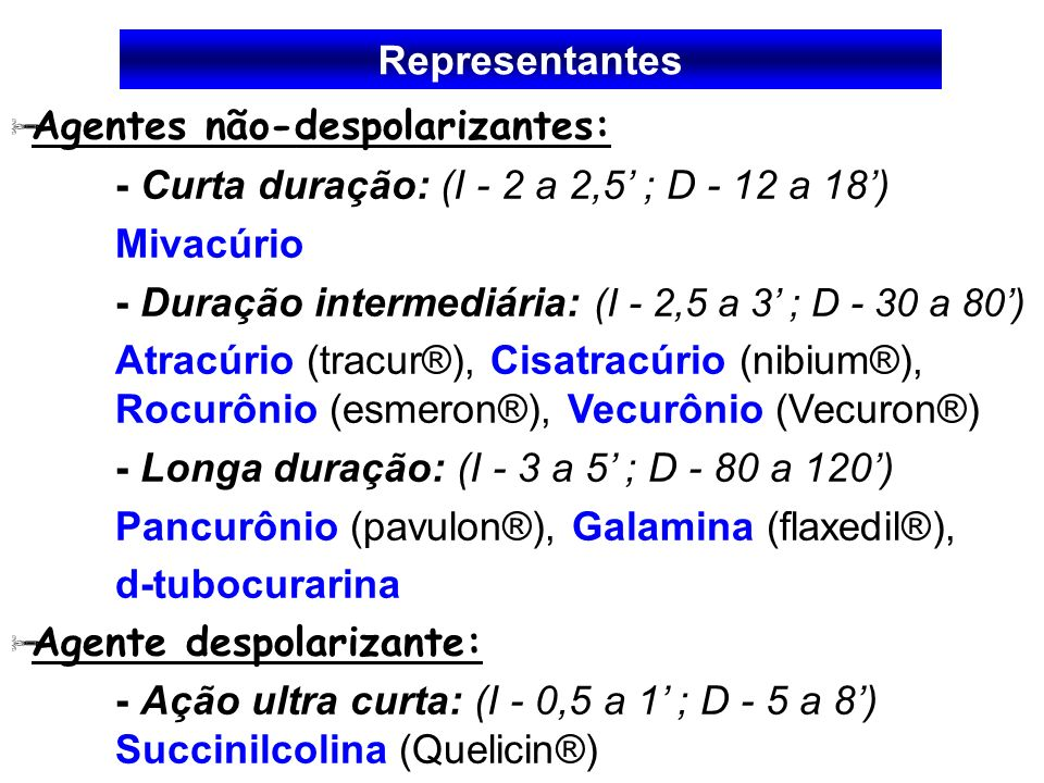 RepresentantesAgentes não-despolarizantes: - Curta duração: (I - 2 a 2,5' ; D - 12 a 18') Mivacúrio.