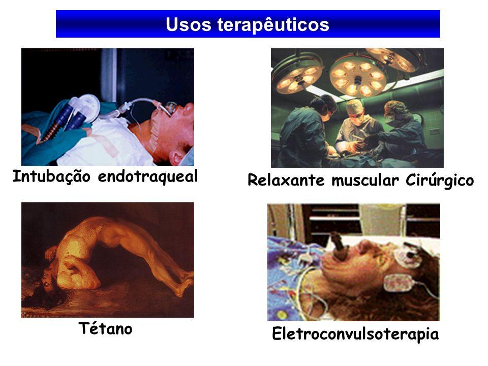 Usos terapêuticos Intubação endotraqueal Relaxante muscular Cirúrgico