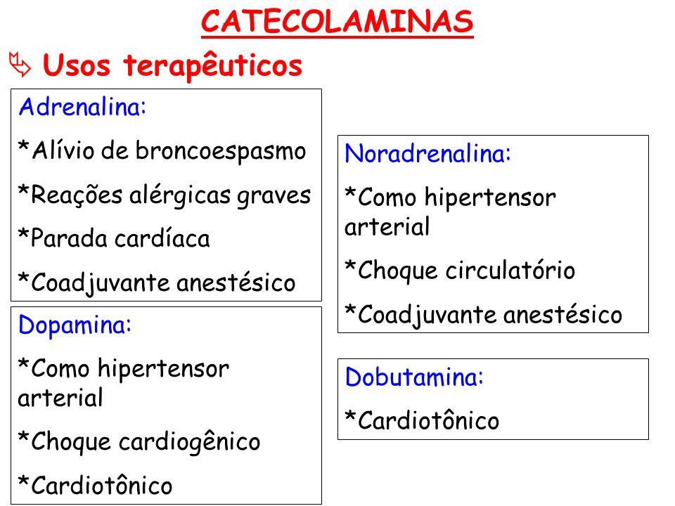 CATECOLAMINAS  Usos terapêuticos Adrenalina: *Alívio de broncoespasmo