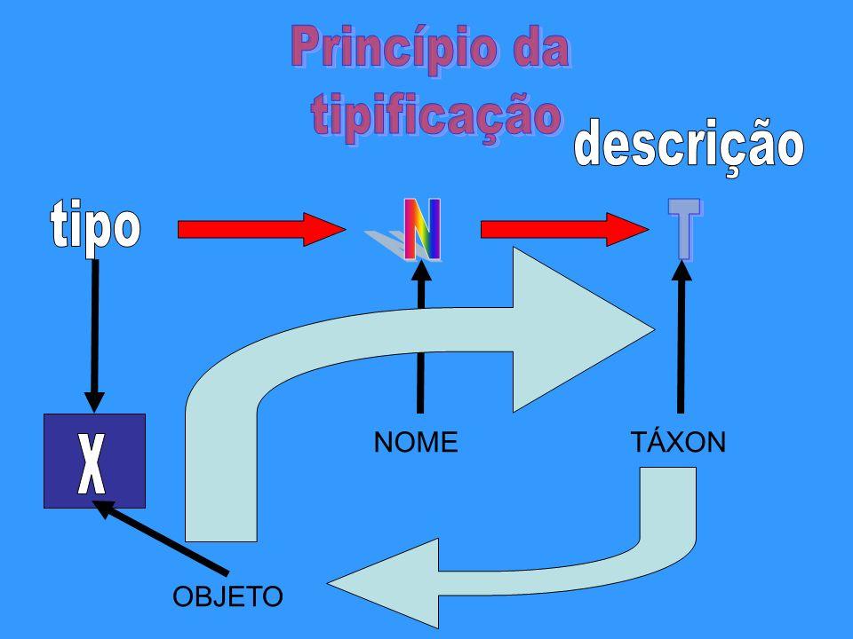 Princípio da tipificação descrição tipo N T NOME TÁXON x OBJETO