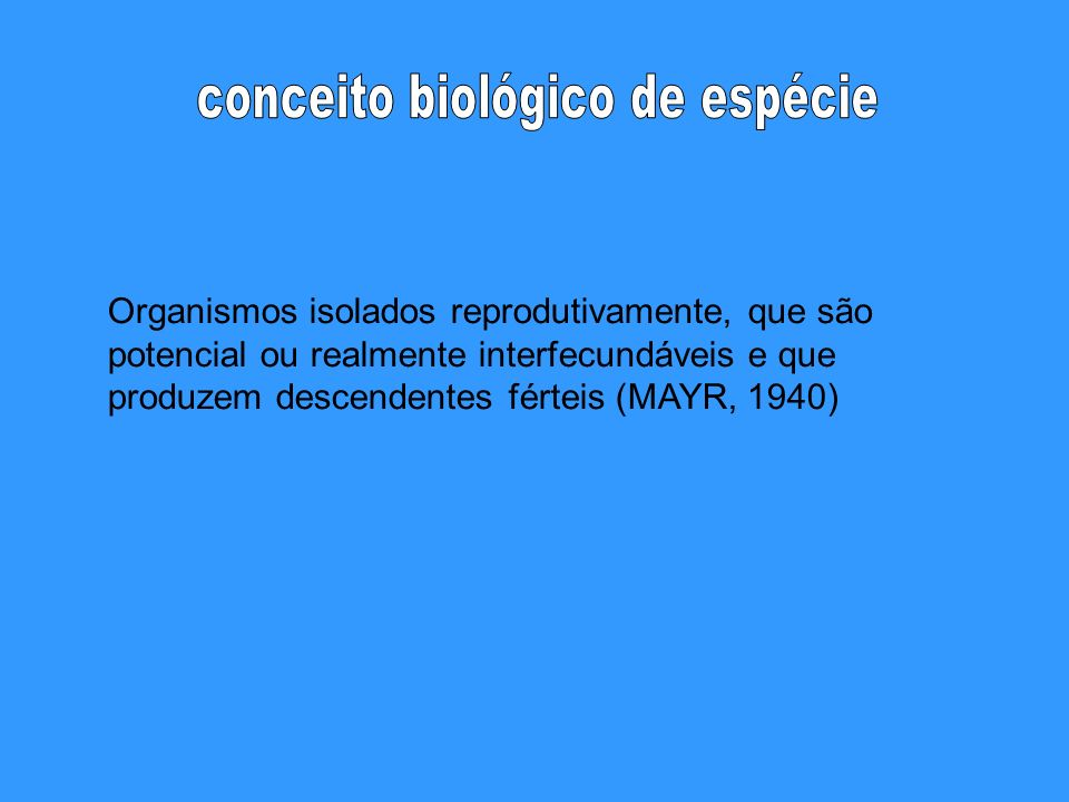 conceito biológico de espécie