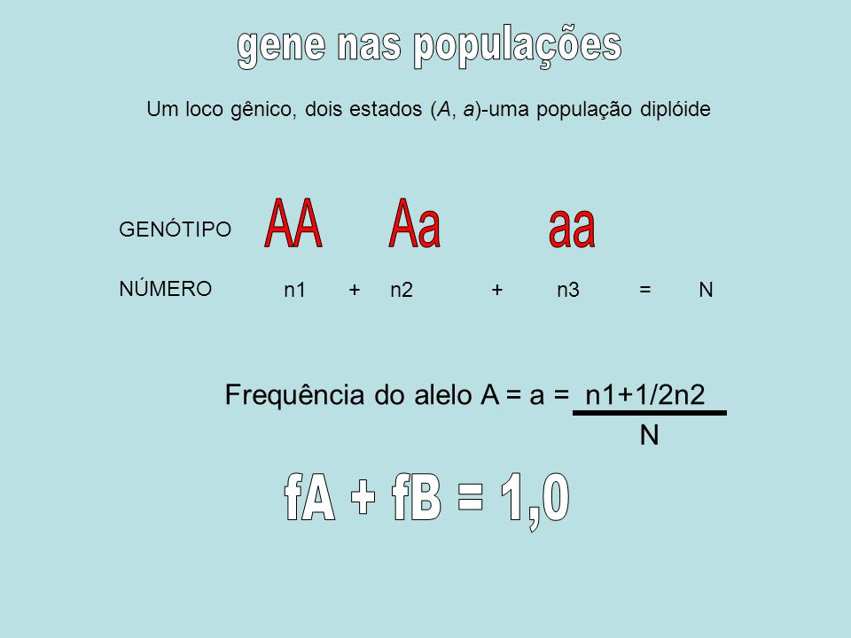 AA Aa aa fA + fB = 1,0 gene nas populações