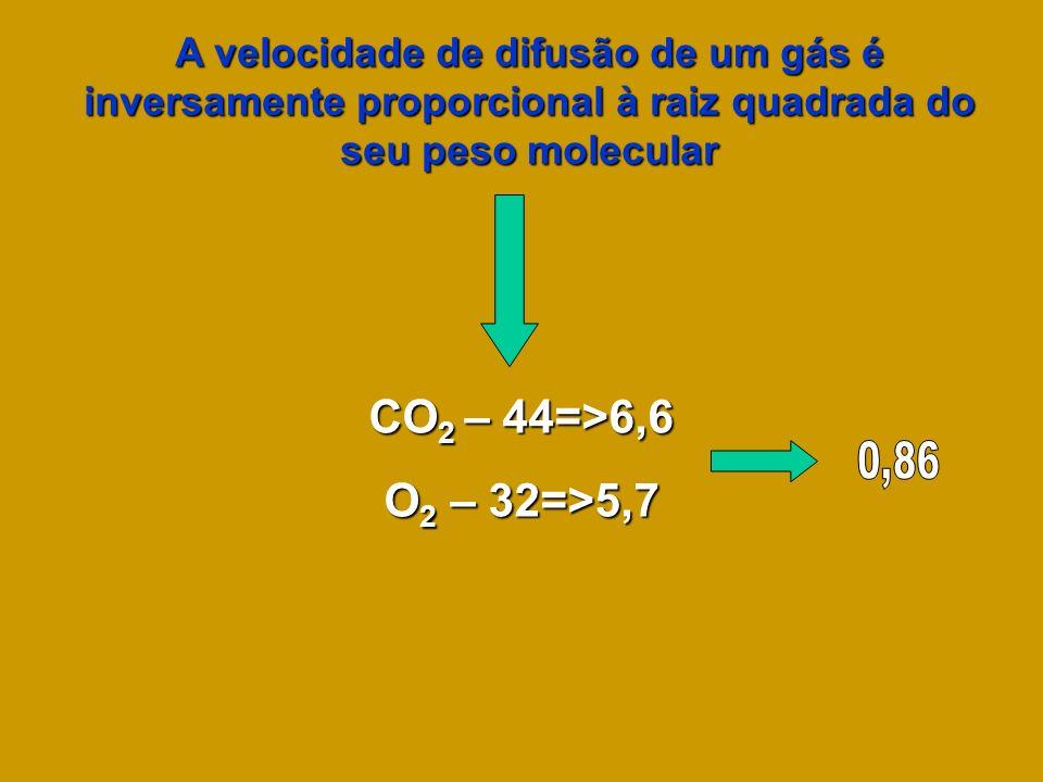 A velocidade de difusão de um gás é inversamente proporcional à raiz quadrada do seu peso molecular