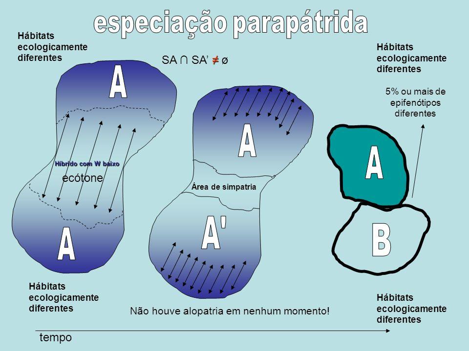 A A A A B A especiação parapátrida SA ∩ SA' ≠ ø ecótone tempo