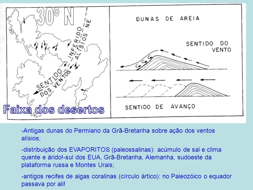 30º N-Antigas dunas do Permiano da Grã-Bretanha sobre ação dos ventos alísios;