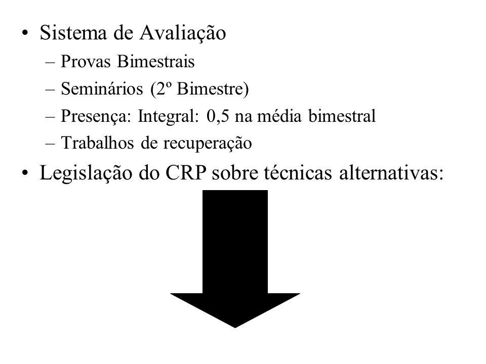 Legislação do CRP sobre técnicas alternativas: