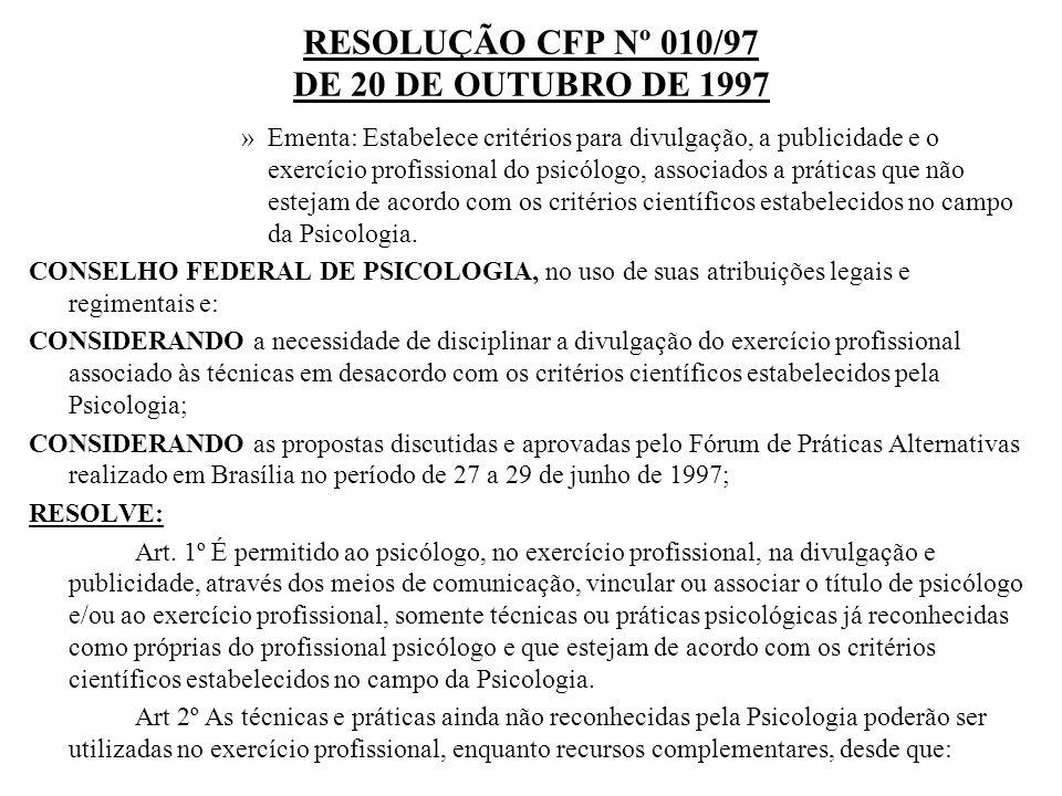 RESOLUÇÃO CFP Nº 010/97 DE 20 DE OUTUBRO DE 1997