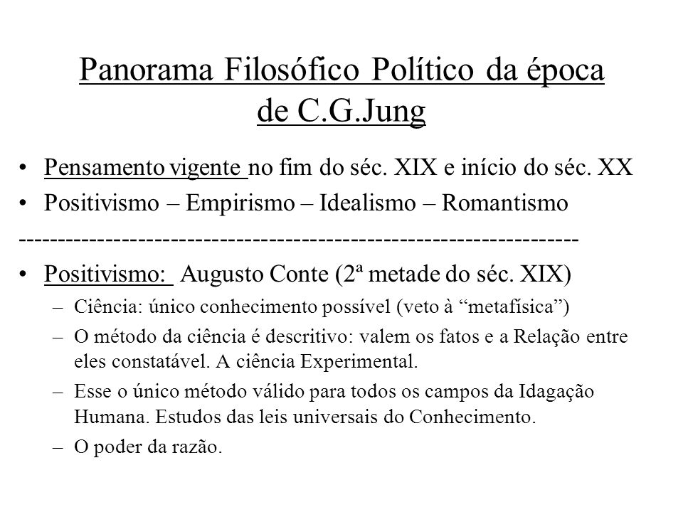 Panorama Filosófico Político da época de C.G.Jung