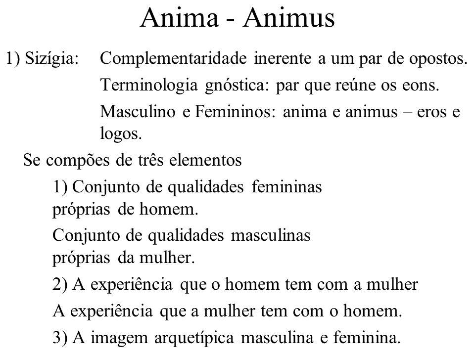 Anima - Animus 1) Sizígia: Complementaridade inerente a um par de opostos. Terminologia gnóstica: par que reúne os eons.
