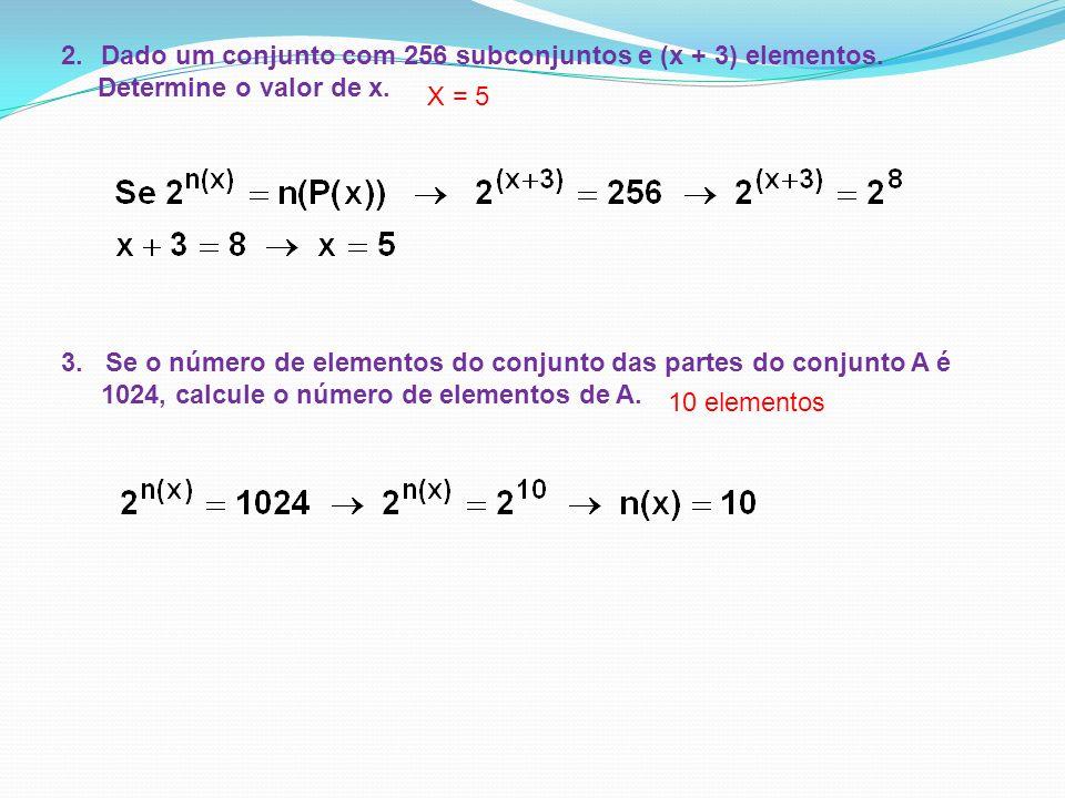 Dado um conjunto com 256 subconjuntos e (x + 3) elementos.