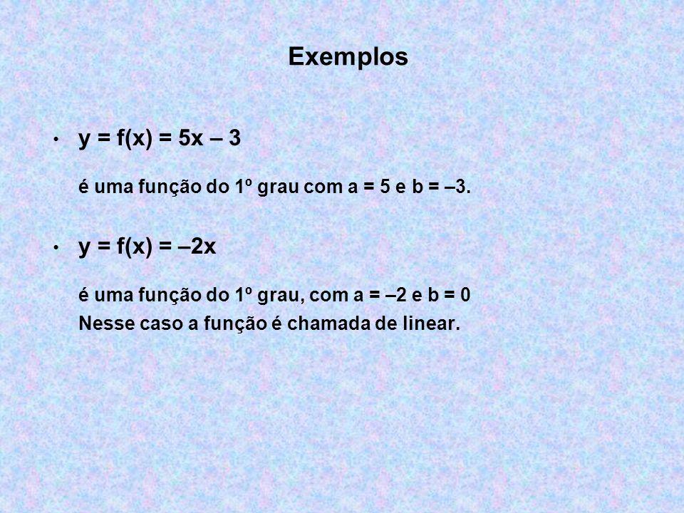 Exemplos y = f(x) = 5x – 3 é uma função do 1º grau com a = 5 e b = –3.