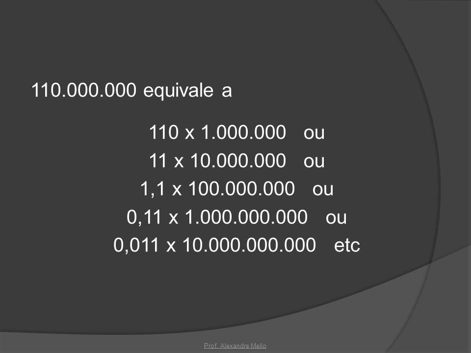 110.000.000 equivale a 110 x 1.000.000 ou 11 x 10.000.000 ou 1,1 x 100.000.000 ou 0,11 x 1.000.000.000 ou 0,011 x 10.000.000.000 etc