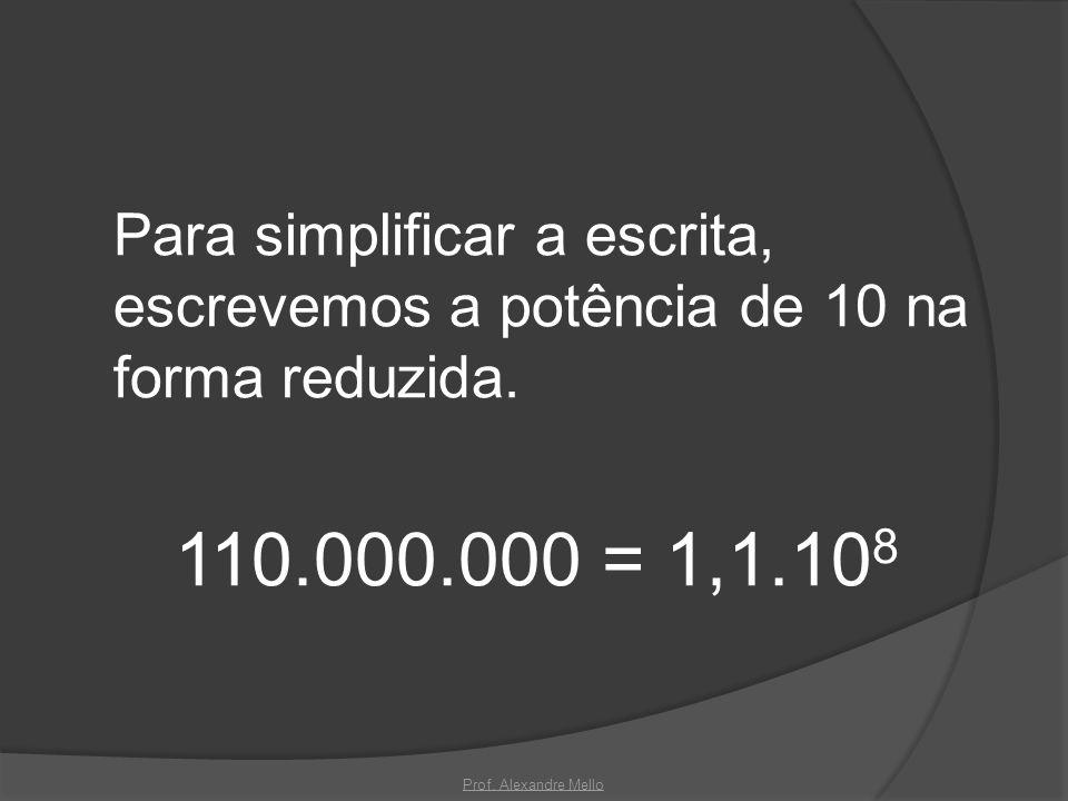 Para simplificar a escrita, escrevemos a potência de 10 na forma reduzida.