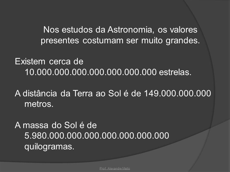 Nos estudos da Astronomia, os valores presentes costumam ser muito grandes. Existem cerca de 10.000.000.000.000.000.000.000 estrelas. A distância da Terra ao Sol é de 149.000.000.000 metros. A massa do Sol é de 5.980.000.000.000.000.000.000.000 quilogramas.