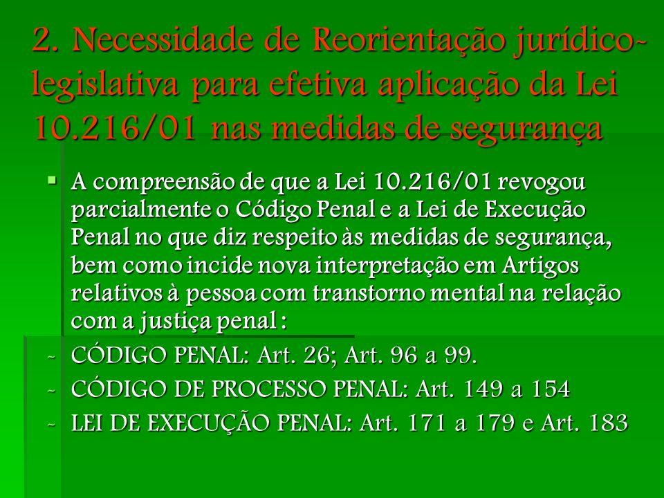 2. Necessidade de Reorientação jurídico-legislativa para efetiva aplicação da Lei 10.216/01 nas medidas de segurança
