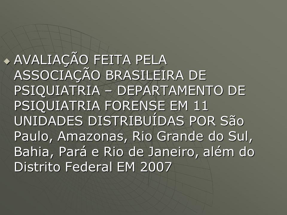 AVALIAÇÃO FEITA PELA ASSOCIAÇÃO BRASILEIRA DE PSIQUIATRIA – DEPARTAMENTO DE PSIQUIATRIA FORENSE EM 11 UNIDADES DISTRIBUÍDAS POR São Paulo, Amazonas, Rio Grande do Sul, Bahia, Pará e Rio de Janeiro, além do Distrito Federal EM 2007