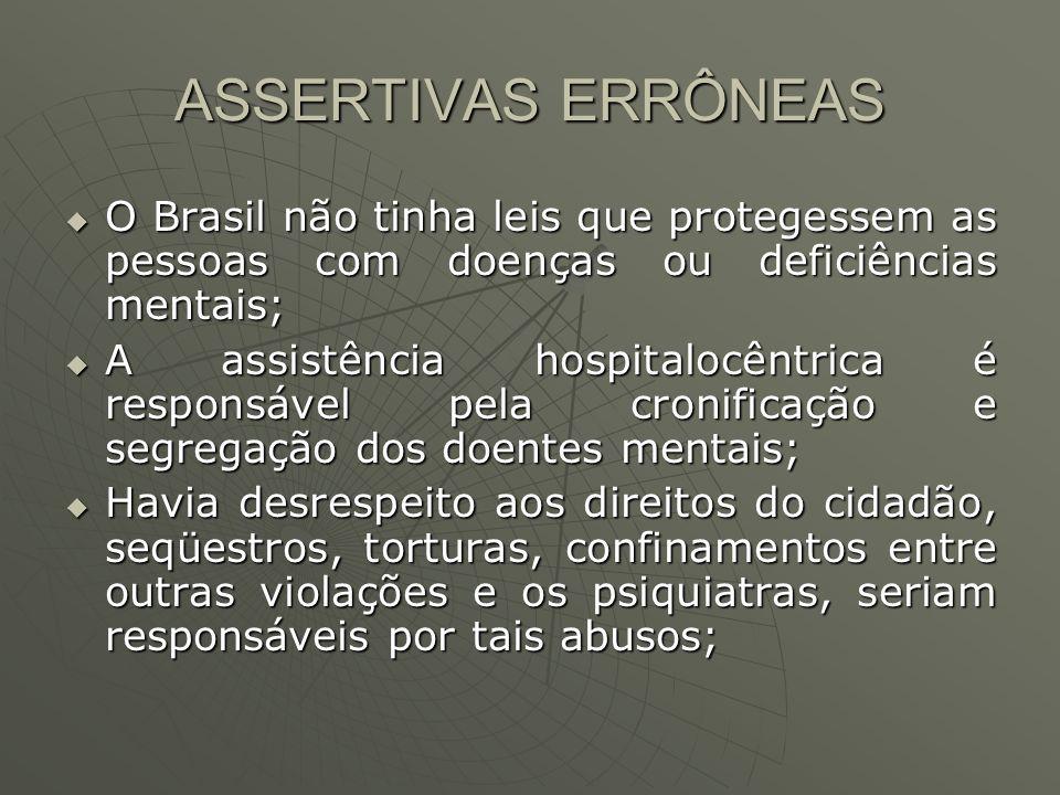 ASSERTIVAS ERRÔNEAS O Brasil não tinha leis que protegessem as pessoas com doenças ou deficiências mentais;