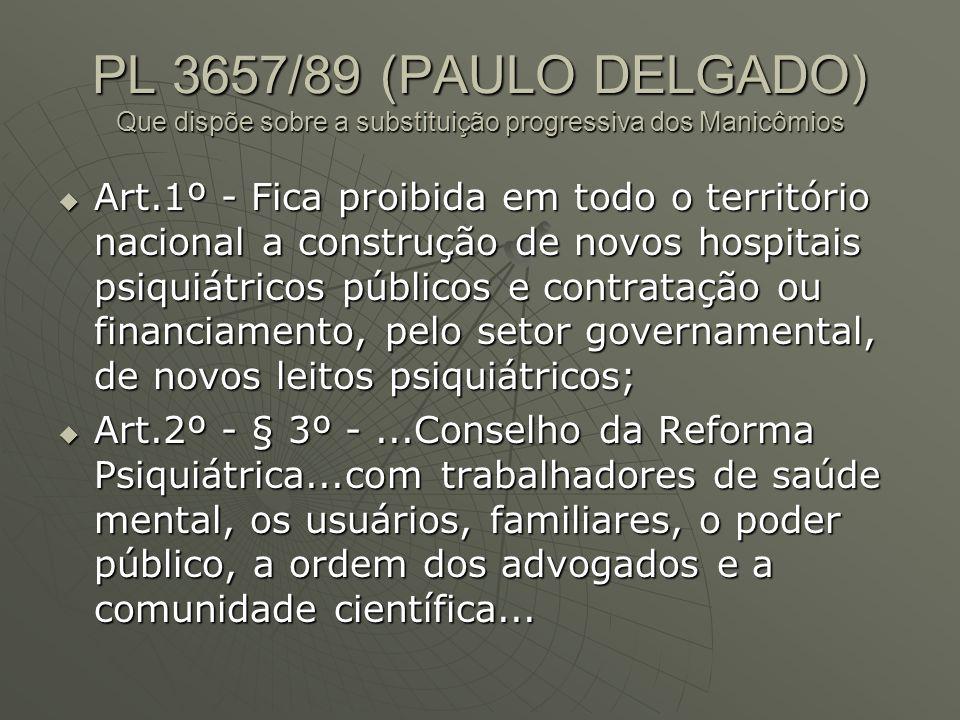 PL 3657/89 (PAULO DELGADO) Que dispõe sobre a substituição progressiva dos Manicômios