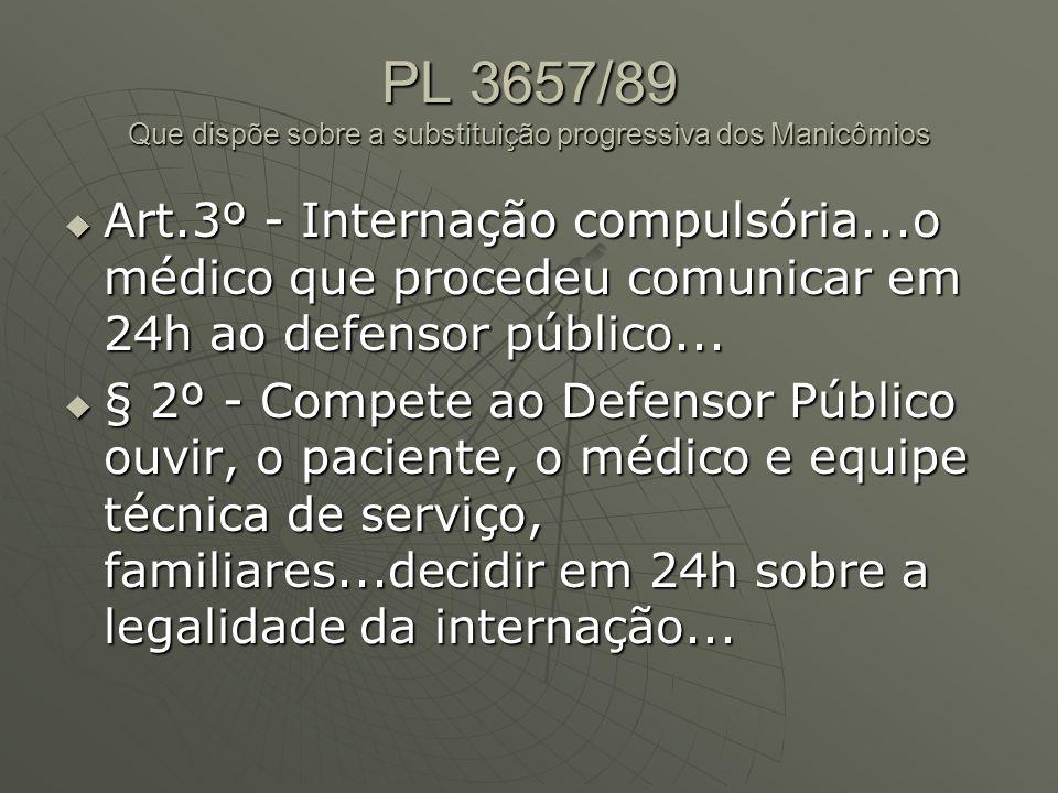PL 3657/89 Que dispõe sobre a substituição progressiva dos Manicômios