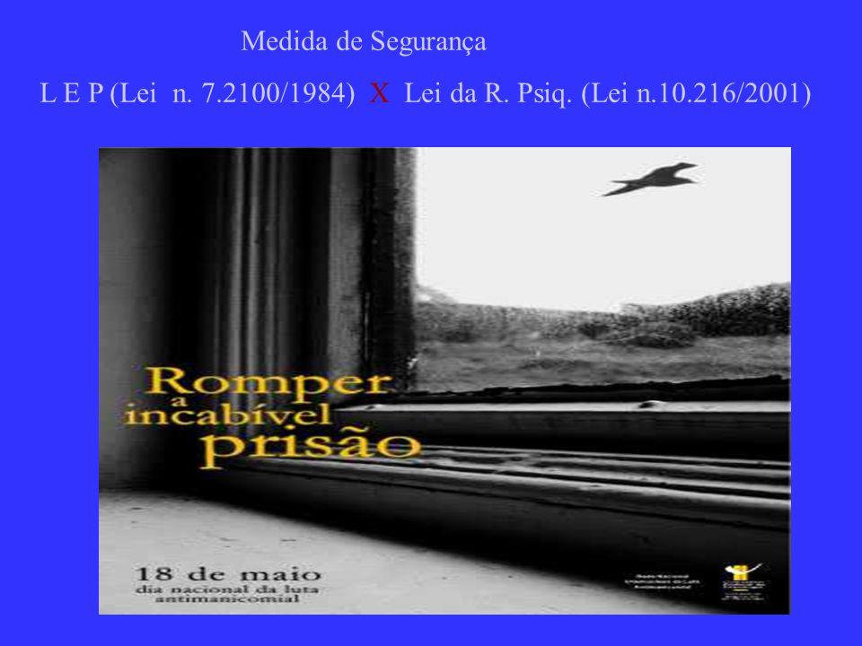 Medida de Segurança L E P (Lei n. 7.2100/1984) X Lei da R. Psiq. (Lei n.10.216/2001)