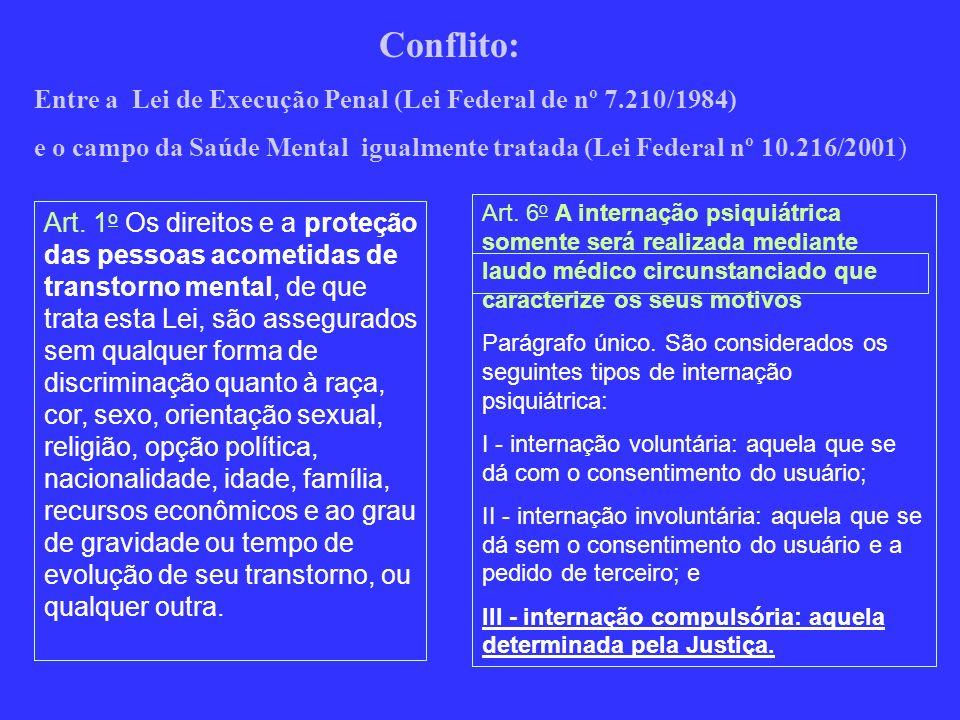 Conflito: Entre a Lei de Execução Penal (Lei Federal de nº 7.210/1984)