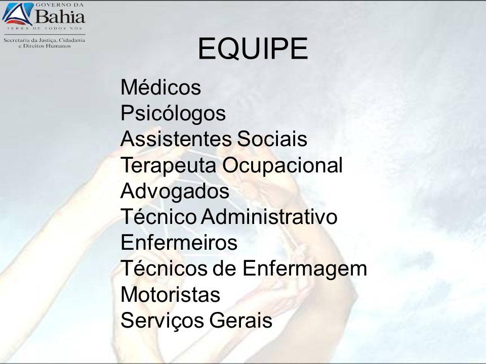 EQUIPE Médicos Psicólogos Assistentes Sociais Terapeuta Ocupacional