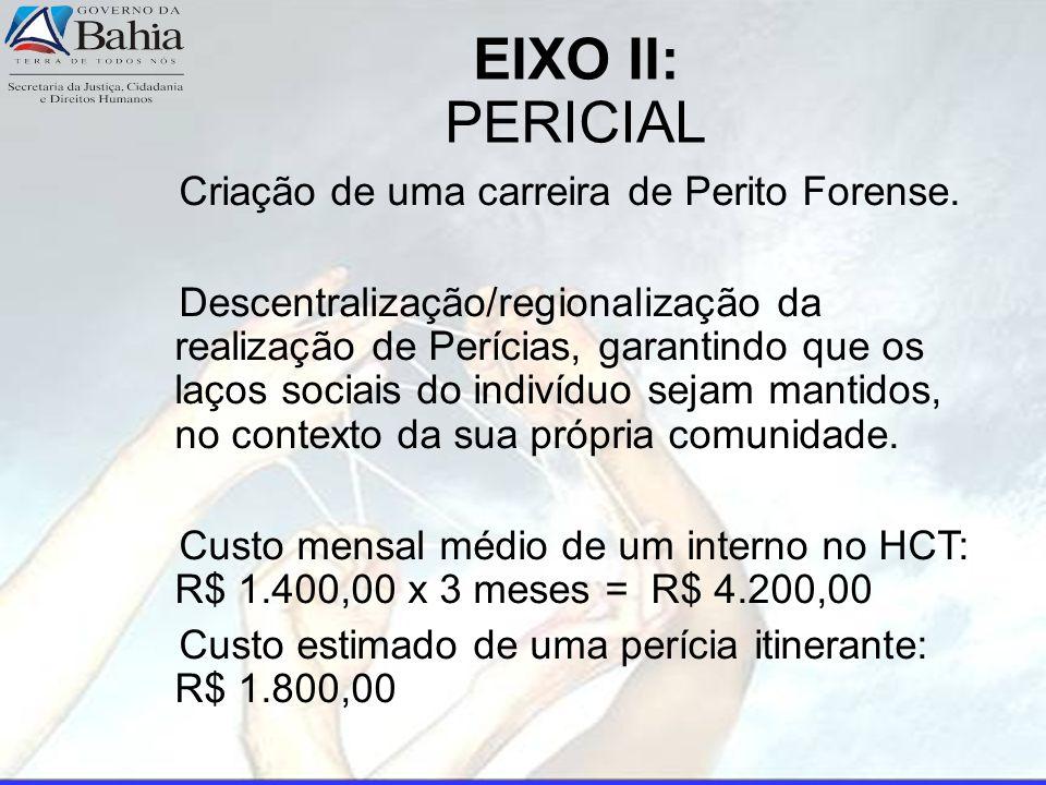EIXO II: PERICIAL Criação de uma carreira de Perito Forense.