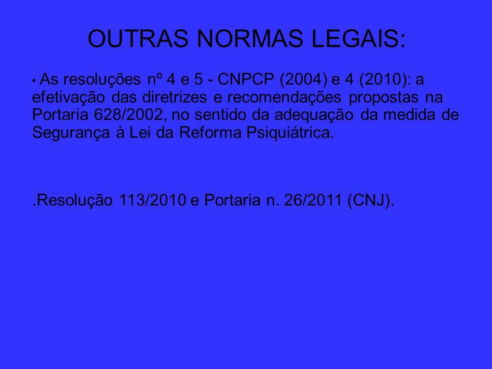 OUTRAS NORMAS LEGAIS: .Resolução 113/2010 e Portaria n. 26/2011 (CNJ).