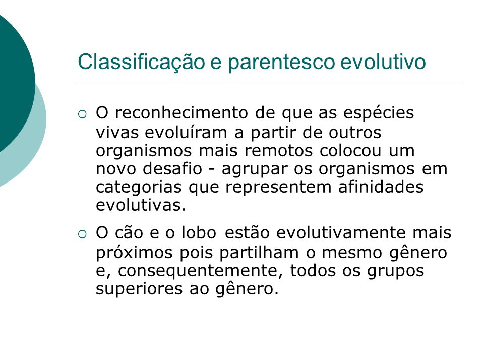 Classificação e parentesco evolutivo