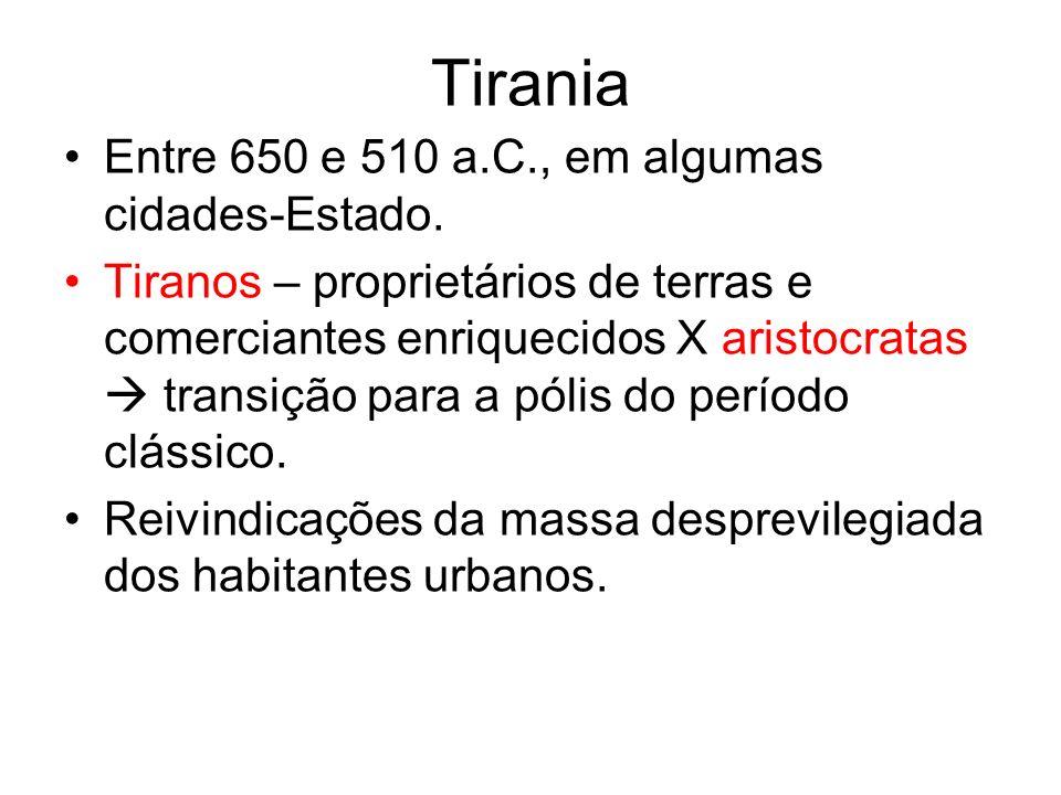Tirania Entre 650 e 510 a.C., em algumas cidades-Estado.