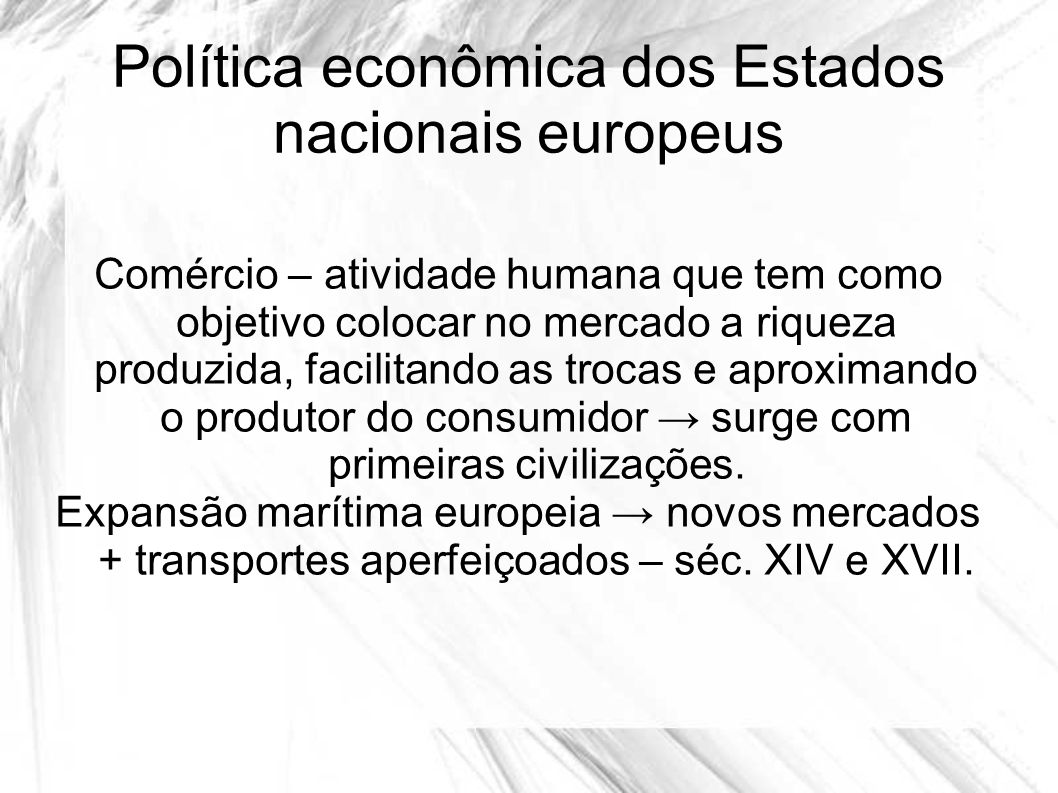 Política econômica dos Estados nacionais europeus
