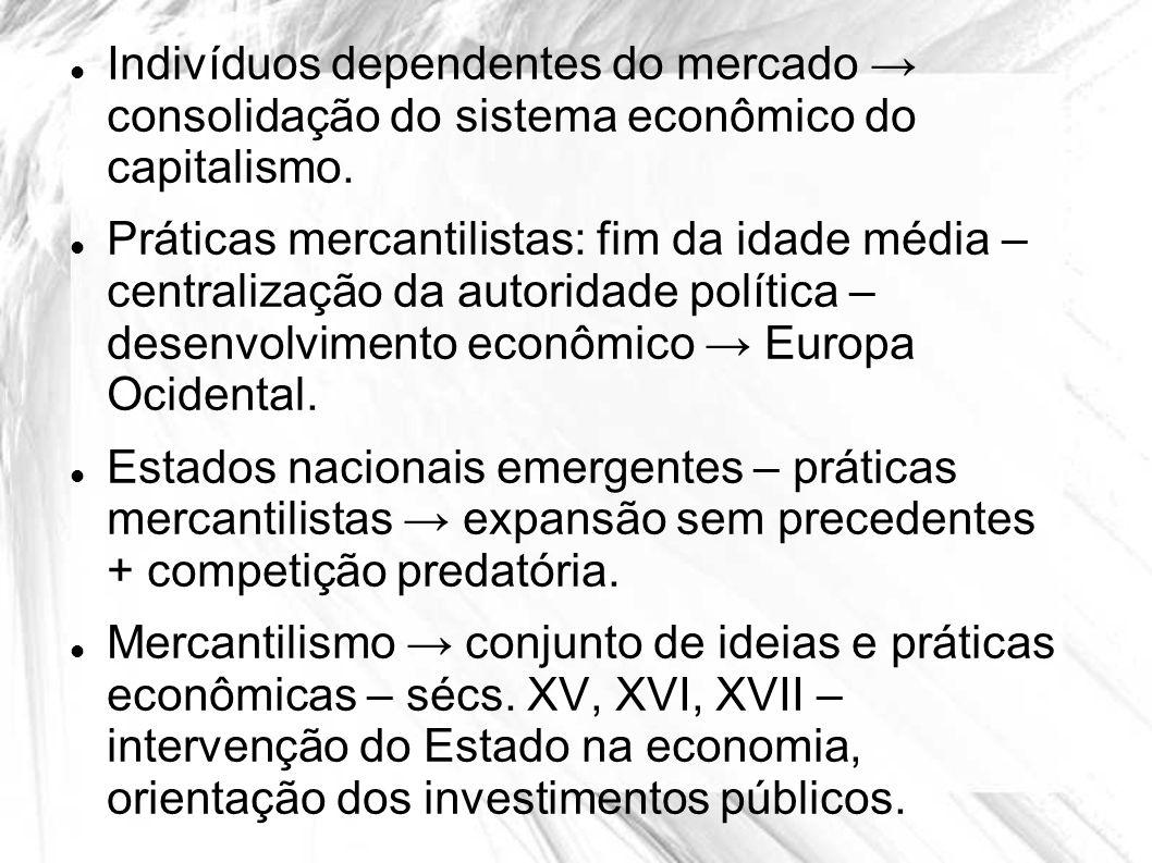 Indivíduos dependentes do mercado → consolidação do sistema econômico do capitalismo.