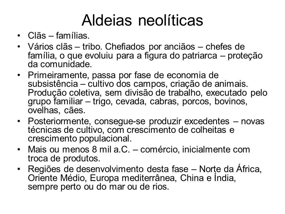 Aldeias neolíticas Clãs – famílias.