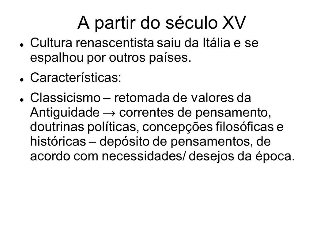A partir do século XV Cultura renascentista saiu da Itália e se espalhou por outros países. Características: